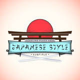 Japan style banner with catanas. Color japan style sign vector logo with catanas Stock Photo