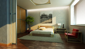 Japan style bedroom interior Royalty Free Stock Photos