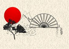 Japan style element. S with sun and blossom tree royalty free illustration