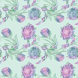 Japan Style Provence Floral Vector Pattern. Seamless colorful elegant romantic print with purple outline sketch flowers on mint green background Stock Image
