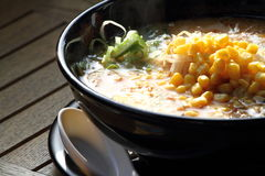 Japan style ramen. With corn Stock Photography