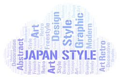 Japan Style word cloud. Wordcloud made with text only vector illustration