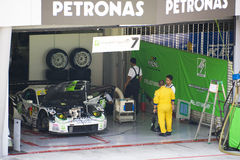 Japan Super GT 2009 - Team M7 RE Amemiya Racing. Image of Team M7 RE Amemiya Racing pit garage at the Japan Super GT Race held at Sepang International Circuit Stock Image