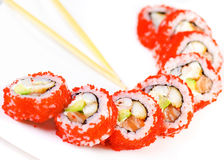 Japan sushi roll with salmon caviar. Stock Images