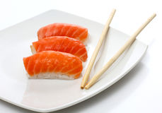 Japan sushi on white plate Royalty Free Stock Photos