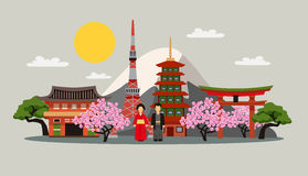 Japan Symbols Composition Flat Poster Stock Photography