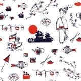 Japan symbols seamless pattern - graphic hand drawn illustration Royalty Free Stock Images