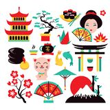 Japan symbols set. With traditional food and travel icons isolated vector illustration royalty free illustration