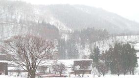 Japan Takayama som snöar berget Royaltyfria Bilder