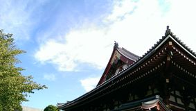 Japan Temple Roof with Blue Sky Stock Image