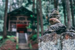 Japan temple stones stacked stock photos