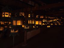 Japan temple traditional lanterns royalty free stock photos