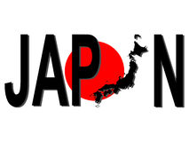 Japan text with map. On Japan flag illustration Royalty Free Stock Images