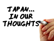 Japan Thoughts Text Writing Message. Hand writing Japan...In Our Thoughts, isolated on white background Stock Images