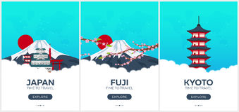 Japan. Time to travel. Set of Travel posters. Vector flat illustration. vector illustration