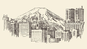 Japan, Tokyo, city architecture, vintage engraved illustration Stock Image