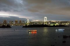 Japan, Tokyo, night view of the bay with its bridge and Statue of Liberty Stock Photos