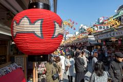 Decorative lamp at Nakamise Dori shopping street. JAPAN, TOKYO, NOV 18 2016, Nakamise Dori shopping street way to Asakusa Sensoji-ji Temple, Tokyo, Japan Stock Photos