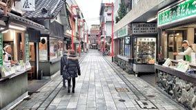 Street food alley at Nakamise, Asakusa, Tokyo, Japan. JAPAN, TOKYO - NOVEMBER 2016: The famous japanese street food alley at Nakamise, Asakusa, Tokyo, Japan royalty free stock photos