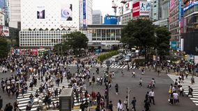 Japan, Tokyo, Shibuya crossing, a major commercial and business center, it houses the two busiest railway stations in the world royalty free stock image