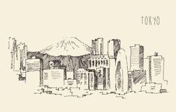 Japan, Tokyo, stadsarchitectuur, wijnoogst gegraveerde illustratie Royalty-vrije Stock Foto