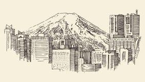 Japan, Tokyo, stadsarchitectuur, wijnoogst gegraveerde illustratie Stock Afbeelding