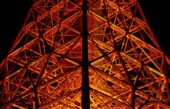 Japan Tokyo Tower building with orange lamps at night Stock Photos