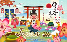 Japan tokyo travel poster. Ebisu holding a glass of beer and fish. Tokyo Japan in Japanese calligraphy and let`s go to Japan in the middle, gastropub word on vector illustration