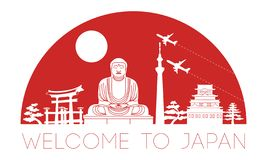 Japan top famous landmark silhouette and dome with red color sty royalty free illustration