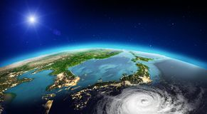 Japan tornado. 3d rendering. Japan tornado. Elements of this image furnished by NASA. 3d rendering stock images