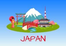 Japan National Symbols Flat Vector Concept Stock Photo