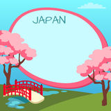 Japan Touristic Vector Concept with Copyspace. Japan touristic banner with national symbols and copyspace. Arched garden bridge across pond with flowering stock illustration
