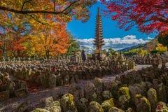 Japan tower pagoda, Kyoto japan in adashino nenbutsu-ji temple Royalty Free Stock Image