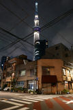 Japan tower, residential houses, pedestrian zebra crossing Stock Photography