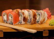 Japan traditional food. Roll with fish Royalty Free Stock Photos