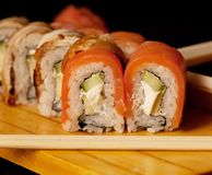 Japan traditional food - roll. Close up Royalty Free Stock Photography
