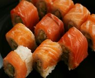 Japan traditional food - roll. Close up Stock Images