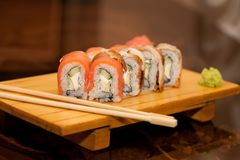 Japan traditional food - roll. Close up Royalty Free Stock Image