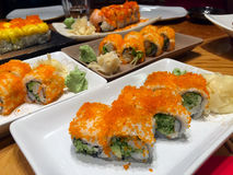 Japan Traditional Food Sushi on Restourant Table Royalty Free Stock Photos