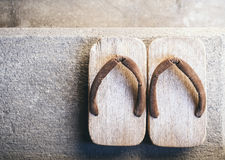 Japan Traditional Footwear Zori on floor Top view Stock Photography