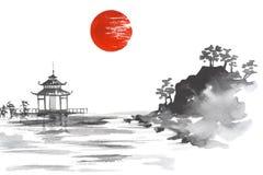 Free Japan Traditional Japanese Painting Sumi-e Art Sun Lake Hill Mountain Temple Stock Photo - 93094430