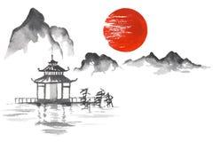 Japan Traditional japanese painting Sumi-e art Sun Mountain Temple Stock Image