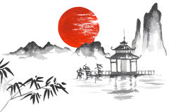 Japan Traditional japanese painting Sumi-e art Sun Mountain Temple Bamboo