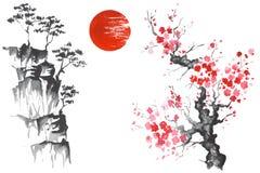 Japan Traditional japanese painting Sumi-e art Sun Sakura Stock Image