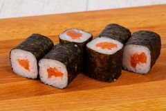 Salmon Maki roll. Japan traditional Salmon Maki roll royalty free stock photography