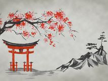Free Japan Traditional Sumi-e Painting. Fuji Mountain, Sakura, Sunset. Japan Sun. Indian Ink Illustration. Japanese Picture. Stock Image - 135781481