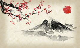 Free Japan Traditional Sumi-e Painting. Fuji Mountain, Sakura, Sunset. Japan Sun. Indian Ink Illustration. Japanese Picture. Royalty Free Stock Images - 140583839