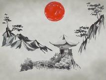 Japan traditional sumi-e painting. Fuji mountain, sakura, sunset. Japan sun. Indian ink illustration. Japanese picture. stock photos