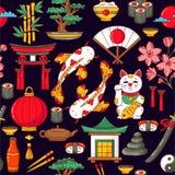 Japan traditional symbols cartoon seamless vector pattern vector illustration