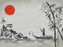 Japan traditionell sumi-emålning Fuji berg, sakura, solnedgång Japan sol Tuschillustration Japansk bild arkivfoto